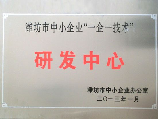 "Weifang city SME ""one company one technology""R&D center"
